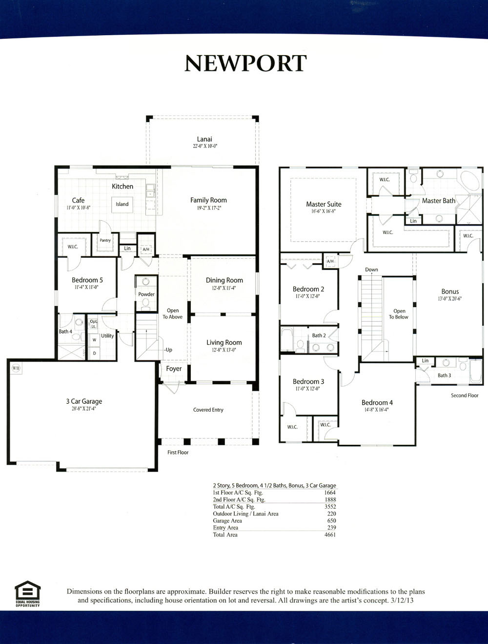 Moody River Floor Plans – 3 Bedroom 2 Bath 2 Car Garage Floor Plans
